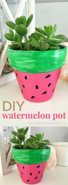 DIY hand painted watermelon terra cotta pot for succulents. They make a sweet summer gift. These adorable DIY HAND PAINTED WATERMELON FLOWER POTS are a cute addition to any indoor or outdoor garden space and a great craft for kids! Flower Pot Crafts, Clay Pot Crafts, Easy Crafts, Diy And Crafts, Flower Art, Cement Crafts, Cactus Flower, Kids Crafts, Painted Flower Pots