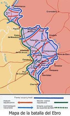 Desarrollo de la batalla del Ebro, 25 de julio-16 de noviembre 1938. Ebro, Spanish, Wwii, Barcelona, Fun, Image, Maps, Army Party, Historia