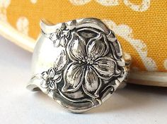 Orange blossom ring made from a vintage spoon