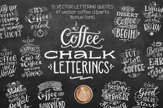 Coffee Chalk Letterings -  This set contains:12 handdrawn and highly detailed chalk letterings (they're really drawn by chalk on a chalkboard), 47 small coffee illustrations, and as a bonus, one of my fonts, Cookie. Please check out the second preview – there is exactly what the set contains. You can use these vector prints for print for chalkboards in your coffeeshop, and also greeting cards, apparel, posters, mugs, bags, packaging, and much more! @creativework247