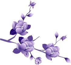Transparent Painted Large Purple Flower Clipsrt