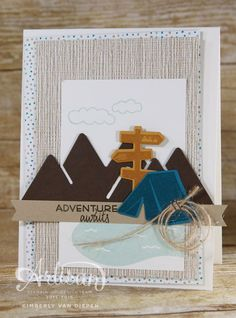 Always an Adventure Stamp set, Camping, Mountains... This stamp set is perfect for handmade cards or Project Life. - StampinByTheSea.com