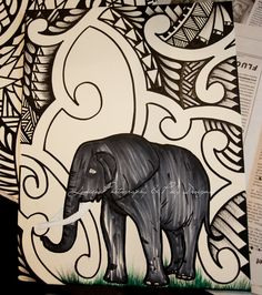 elephant with tribal patterns