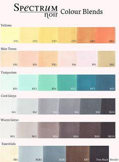 Extremely helpful document for Spectrum Noir Users!  #alcholmarkers #spectrumnoir INKy Bird: Spectrum Noir Blending Charts