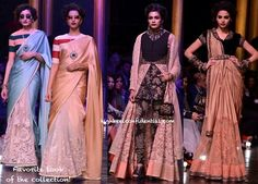 LFW A:W 2013- Sabyasachi: Half-lace-half-satin saree with striped contrast blouse