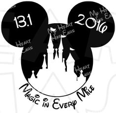 Magic in every mile 13.1 marathon Castle Mickey Mouse ears head INSTANT DOWNLOAD digital clip art DIY for shirt – copy :: My Heart Has Ears