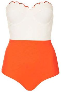orange scallop top one piece bathing suit