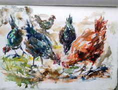 Chickens sketch by Jennifer Branch.