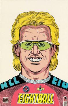 Daniel Clowes – Complete Eightball back cover Comic Book Artists, Comic Artist, Comic Books Art, Bukowski, Daniel Clowes, Alice Faye, Ghost World, Alternative Comics, Rene Gruau