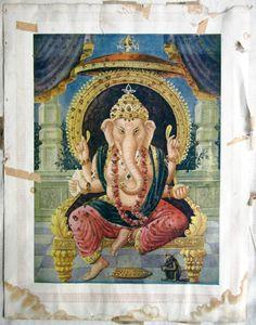1950s Original Vintage Fine Art Print Hindu God Ganesha | eBay