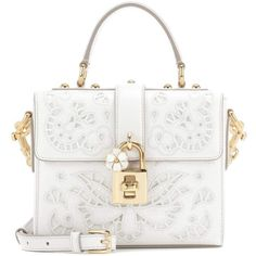 Dolce & Gabbana Dolce Soft Leather Shoulder Bag (€3.280) ❤ liked on Polyvore featuring bags, handbags, shoulder bags, white, white leather purse, white handbags, white purse, white shoulder handbags and shoulder handbags