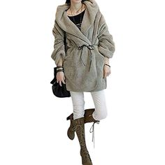 ROPALIA Womens Long Sleeve Faux Fur H…