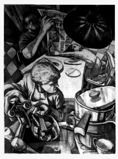 """""""Put the kettle on dear"""" Drawing - charcoal on paper by Gary Drostle©"""