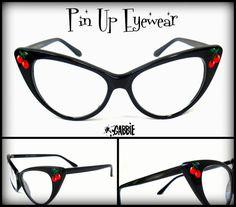 Pin Up Eyewear (Cherries) - Vintage Retro Cat Eye Eyeglasses Frame - Custom Painted - One of a kind!