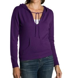 Purple Cashmere Hooded Jumper for Women