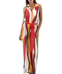 Another great find on #zulily! Saffron Sheer Wave Button-Up Palazzo Jumpsuit by Merdor #zulilyfinds