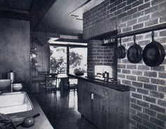 """House Beautiful photographed this kitchen in a $16,000 house as part of a 1959 article titled """"Design — Not Money — Makes Character.""""  [Another kitchen to drool over!]"""