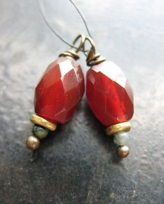 Faceted Red Carnelian and Antiqued Brass Bead by missficklemedia