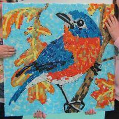 glass mosaic tile art bluebird
