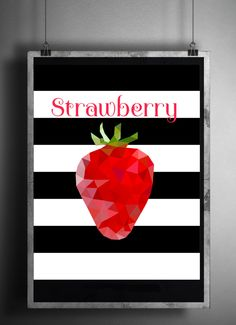 Polygon Strawberry on Black and White Striped Background High Resolution Instant Download Low Poly Triangle Digital Wall Art by StudioGlindda on Etsy