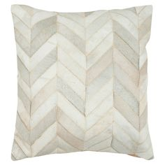 Showcasing a patchwork design in a chic chevron motif, this cowhide pillow infuses your sofa or bed with a touch of rich texture.    Pr...