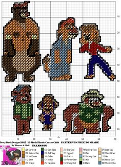 Talespin Mini Hama Beads, Perler Beads, Plastic Canvas Crafts, Plastic Canvas Patterns, Canvas Board, Disney Cartoons, Hobbies And Crafts, Little People, Pixel Art