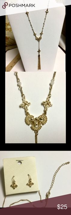 """Baroque ornate with tussle drop necklace set Gold color baroque  drop necklace with tussle. Approx 18"""" Lobster claw clasp with 3"""" extender. Lead/Nickel compliant. Set with 1"""" earrings. Jewelry Necklaces"""