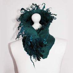 Felted Collar Scarf Felt Collar whit curls Emerald Green Eco Art Boho unique