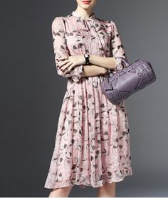Shop joy&joso pink printed long sleeve pleated dress here, find your knee length dresses at dezzal, huge selection and best quality. Knee Length Dresses, Day Dresses, Dresses For Work, Elegant Dresses For Women, Beautiful Dresses, Chiffon Shirt Dress, Dresser, Butterfly Dress, Print Chiffon