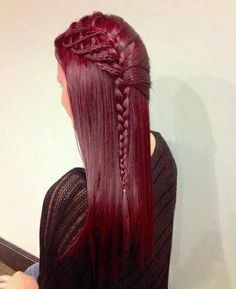 Gorgeous sangria-red hair accessorized with an intricate braid... simply to die for! Visit your closest Duane Reade for fashion forward beauty and hair care products!