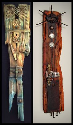 Mixed media art totems by Brian Giberson of Indigo Lights Painted Driftwood, Driftwood Crafts, Wood Mosaic, Mosaic Art, Deco Nature, Found Object Art, Painted Sticks, Assemblage Art, Wood Sculpture
