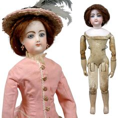 """Stunning 18"""" Francois Gaultier for Jumeau Kid Over Wood Body Fashion from kathylibratysantiques on Ruby Lane"""