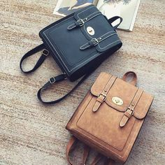 Unique Belt Double Metal Locks College Shoulder Bag Backpack Retro Frosted PU Square Flap Backpacks Source by seanzhangeuc bags Unique Backpacks, Vintage Backpacks, Cute Backpacks, Girl Backpacks, School Backpacks, Fashion Bags, Fashion Backpack, Diaper Bag Backpack, Diaper Bags