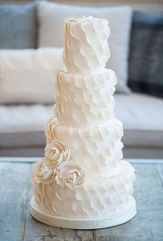 Textured Wedding Cakes | Ivory and Rose Cake