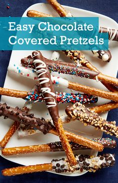Check out our easy spin on classic homemade chocolate covered pretzels! Use pretzel rods and our topping suggestions to customize and personalize a tasty dessert. Plus, learn how to correctly (and eas Christmas Pretzels, Christmas Desserts, Christmas Baking, Christmas Treats, Chocolate Covered Pretzel Sticks, Dipping Chocolate, Homemade Chocolate, Chocolate Recipes, Sweets