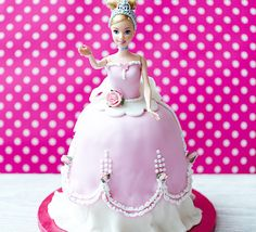 Pull out all the stops with this sensational celebration cake, a princess doll enrobed in pretty pink and white icing - perfect for a special birthday party Royal Icing Sugar, Pink Icing, White Icing, Fondant Icing, Butter Icing, Barbie, Mint Cake, Crazy Cakes, How To Make Scarf