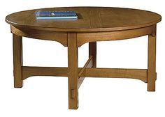 The look for less: substitute for the museum's #410 L Hexagonal Library Table: Hekman Arts & Crafts Round Coffee Table, $477.60