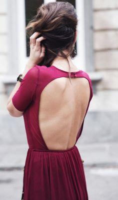 Burgundy Dress / Open Back
