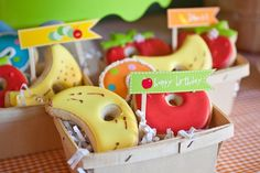 The Very Hungry Caterpillar Party Treats   {Fresh Chick Design Studio}...I love wooden berry baskets
