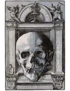Hans Wechtlin, Skull Within an Ornamental Frame, a woodcut,  Germany, about AD 1510-11