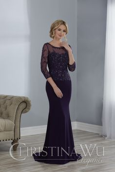 8777eed4046 ... Mother of Bride - Illusion neckline with beaded edges