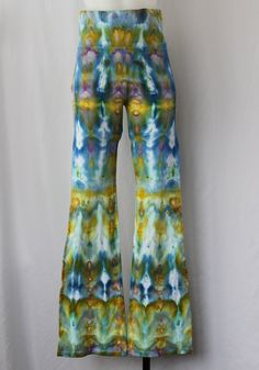 Yoga Pants, Tie dye, Ice Dyed, Artshow painting 315, Size Medium, folded pattern by ASPOONFULOFCOLORS on Etsy