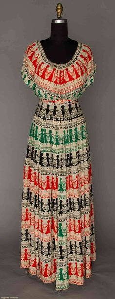 Adrian Gilbert Printed Silk Summer Dress, Late 1930s