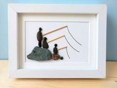 Fishing pebble art, father's day gift, retirement gift, anniversary gift, birthday gift, cottage decor, unframed 5 by 7, by Jenny Love