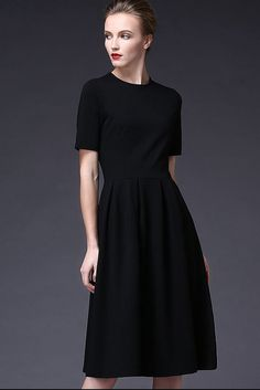 Vintage Big Sweep Elegant Long Black Dress