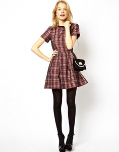 ASOS - Skater Dress In Bonded Check