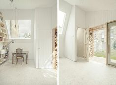 osb flooring with white oil finish - Writer's Shed in Hackney, London