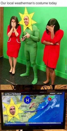 """Weatherman Nailed His Costume...... his coworkers look so done. The first girl is loosing it but his possibly boss on the right is so fed up. """"Jerry we talked about this."""""""