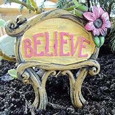 Believe Signage. www.teeliesfairygarden.com . . . This Believe signage will be a wonderful attraction to your fairy garden. Any fairy will adore this. #fairysign