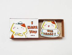 Items similar to Cute Love Card/ Cat Lover Gift/ Surprise Anniversary Gift/ Witty Matchbox Gift/ Cute Greeting Card/ I hate you the least! Birthday Balloon Decorations, Diy Birthday Banner, Birthday Box, Happy Birthday, Bf Gifts, Diy Gifts For Friends, Birthday Gifts For Best Friend, Matchbox Crafts, Matchbox Art